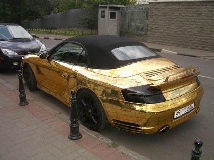 Porsche on Gold Covered Porsche