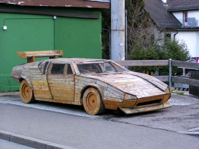 car in wood