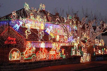 Christmas Lights on Lots Of Lights On This Big House