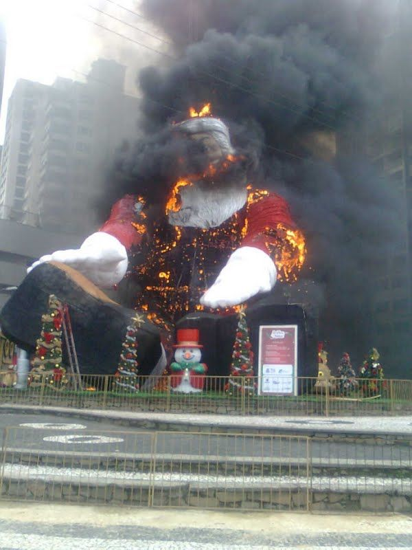 Santa Claus on fire