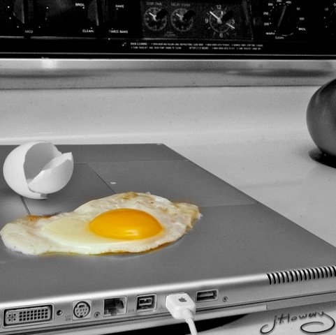 laptop with egg