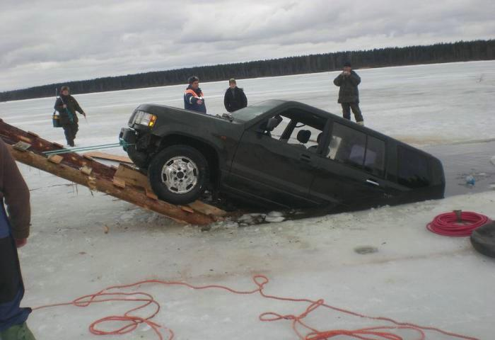 Ice Fishing Car Accident