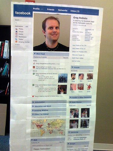 Man dressed as his facebook profile