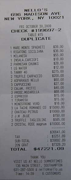 expensive restaurant bill