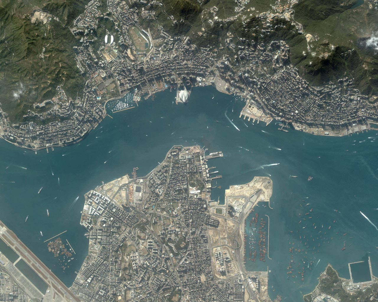 The hong kong region a great satellite image with ports and boats